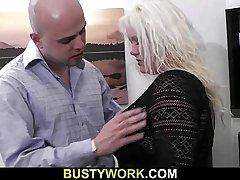 He is screwing cute blonde plumper
