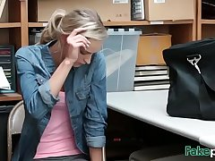 Office fuck with blonde teen thief