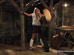 Enslaved Girl In Black Panties Moans As Mistress Fingers Her