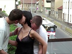 Petite teen girl PUBLIC sex gangbang threesome on a train bridge