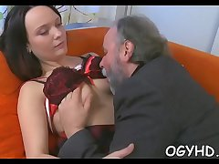 Old rod rams juvenile pussy and face hole