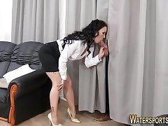 Horny babe gets peed on