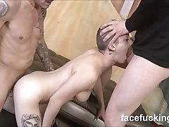 Shaved hair whore Roni Marie gets a rough facefucking and pounding
