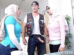 Big Tits Arab Pornstars Mia Khalifa and Julianna Vega Fuck Big Dick White Devil
