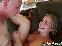 Babysitter blows perv wam