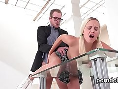 Lovable schoolgirl gets teased and screwed by her elderly tutor