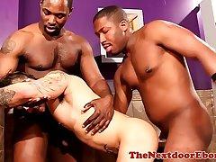 Ebony hunk pissing before interracial sex