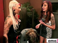 Lucky Dude Gets Comforted by Two Gorgeous Emo Chicks Juliette Black &amp_ Jessie Lee