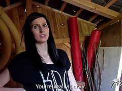 Povbitch Tall brunette show her sexual skills in garden house