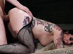 Goth alt slut rides cock