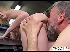 Teen blows and rides old penis