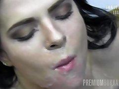 PremiumBukkake - Elya #2 swallowing big loads