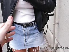 Huge boobs student flashing outdoors in public