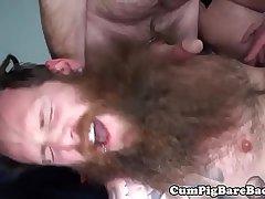 Mature bears sharing tight ass in a sex swing