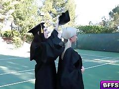 Naughty graduating teens in a hot lesbian fuck
