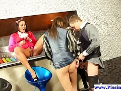 Classy piss babes emptying bladder in trio