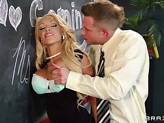 Lubricious teacher with huge melons fucks Bill in front of her students