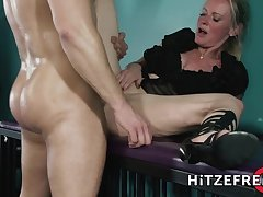 Mature blonde lady in high heels gets a hard fuck